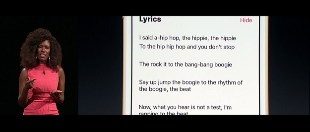 การแสดงผลเนื้อเพลงของ Apple Music
